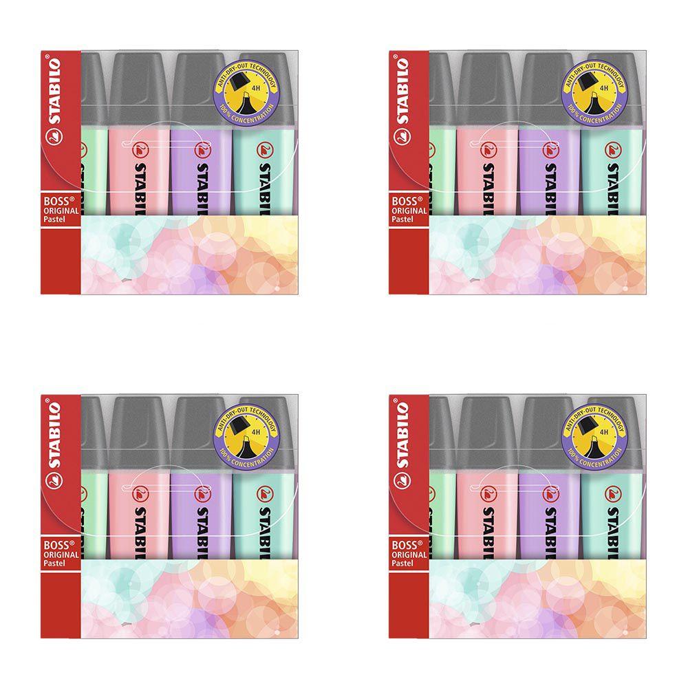 Kit marca texto 4 cores pastel 4 un BOSS Stabilo