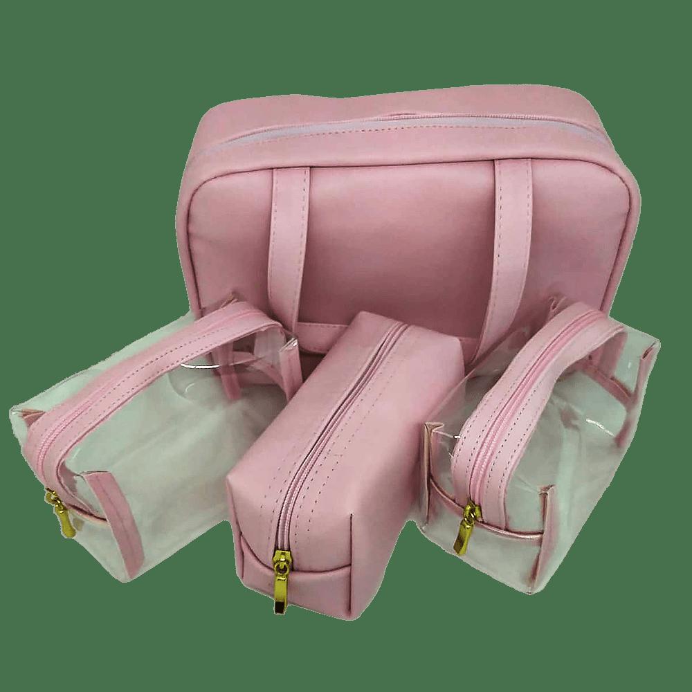 Kit necessaire + 3 estojos rosa Fizz
