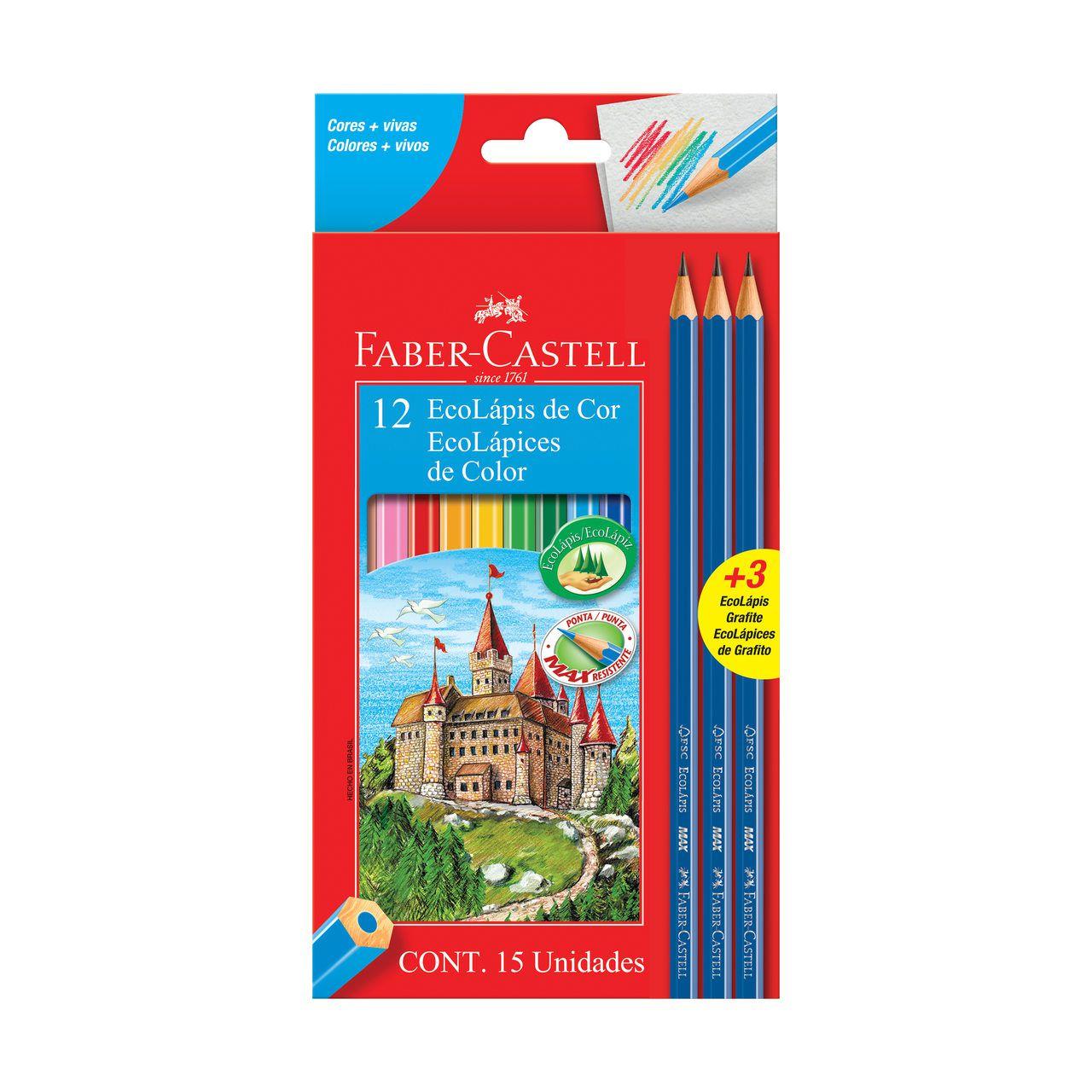 Lápis de cor 12 cores + 3 lápis grafite Faber-Castell