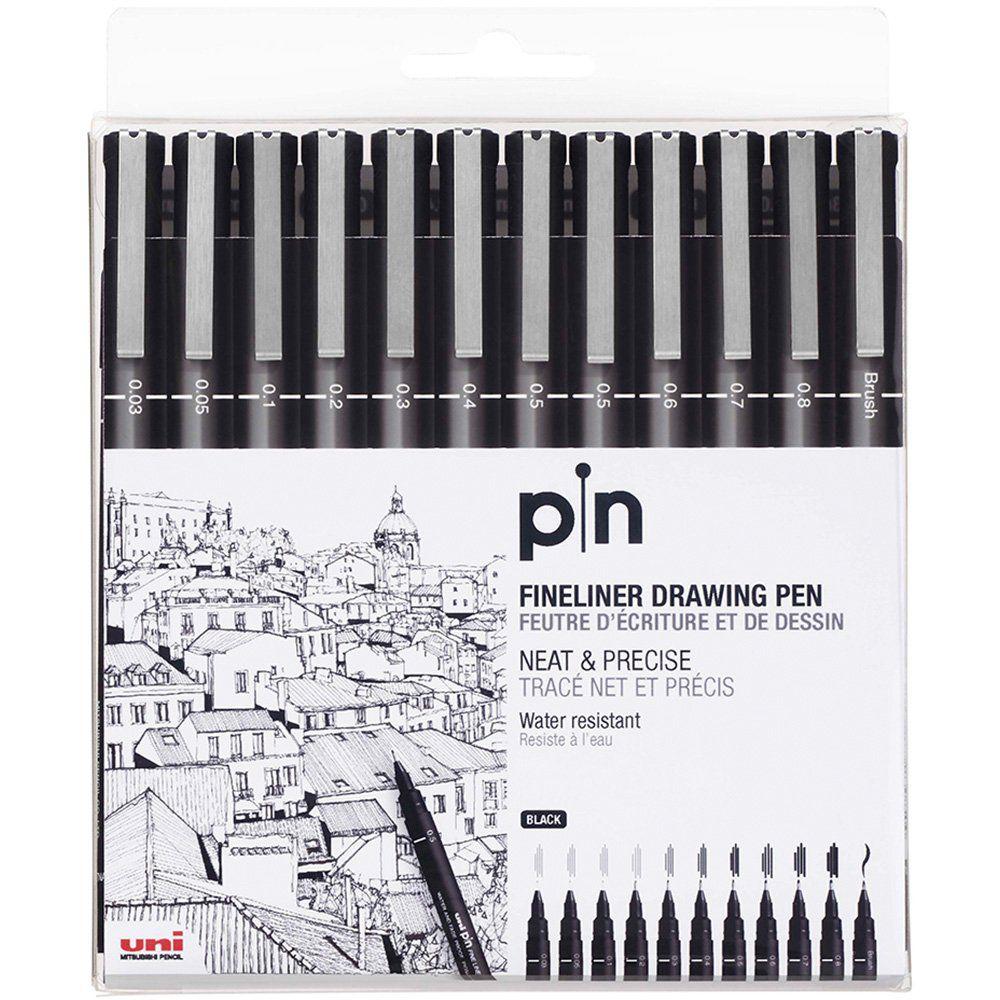 Kit marcador 36 cores Magic Color + 12 canetas Uni Pin