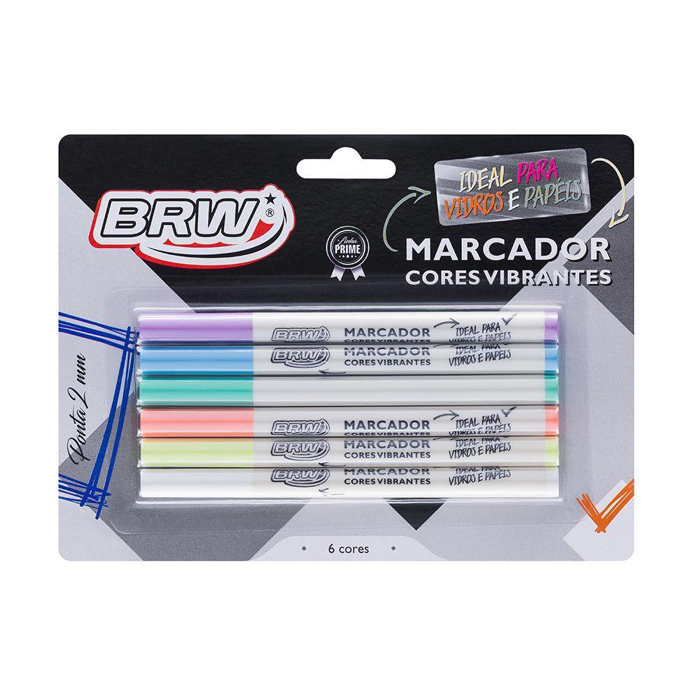 Marcador 6 cores pasteis Brw