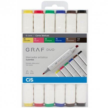 Marcador artístico 6 cores basicas GRAF DUO Cis