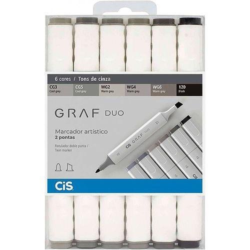 Marcador artístico 6 tons de cinza GRAF DUO Cis