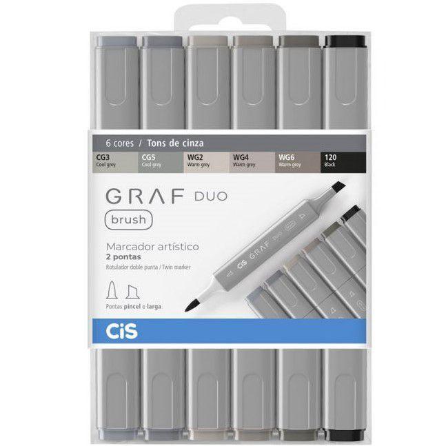 Marcador artístico brush 6 tons de cinza GRAF DUO Cis