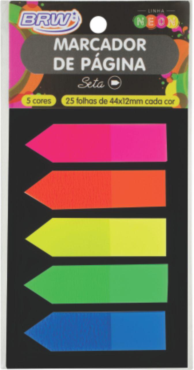 Marcador de página adesivo 12x44 25 fls 5 cores Brw