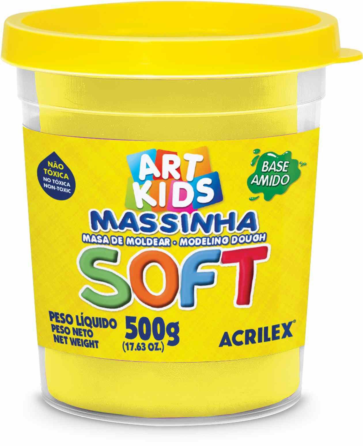 Massa modelar 500g amarelo Acrilex