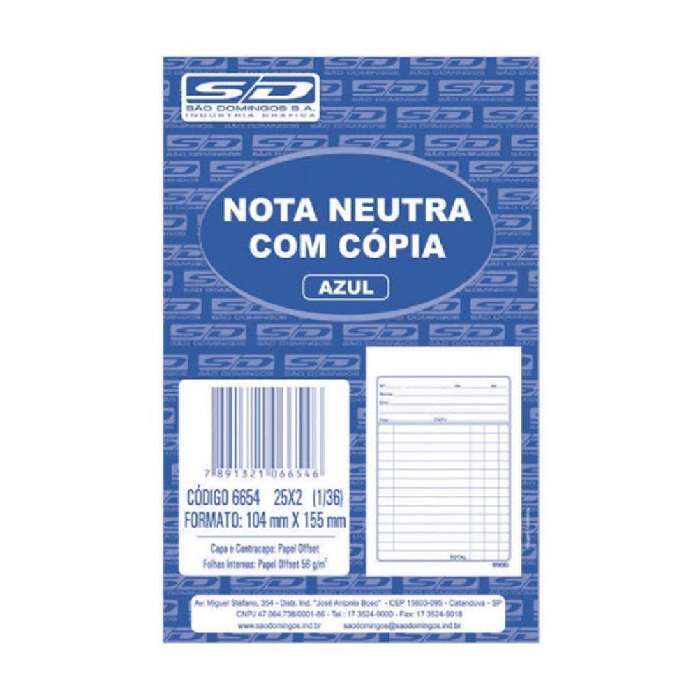 Nota neutra com cópia azul 50 folhas São Domingos