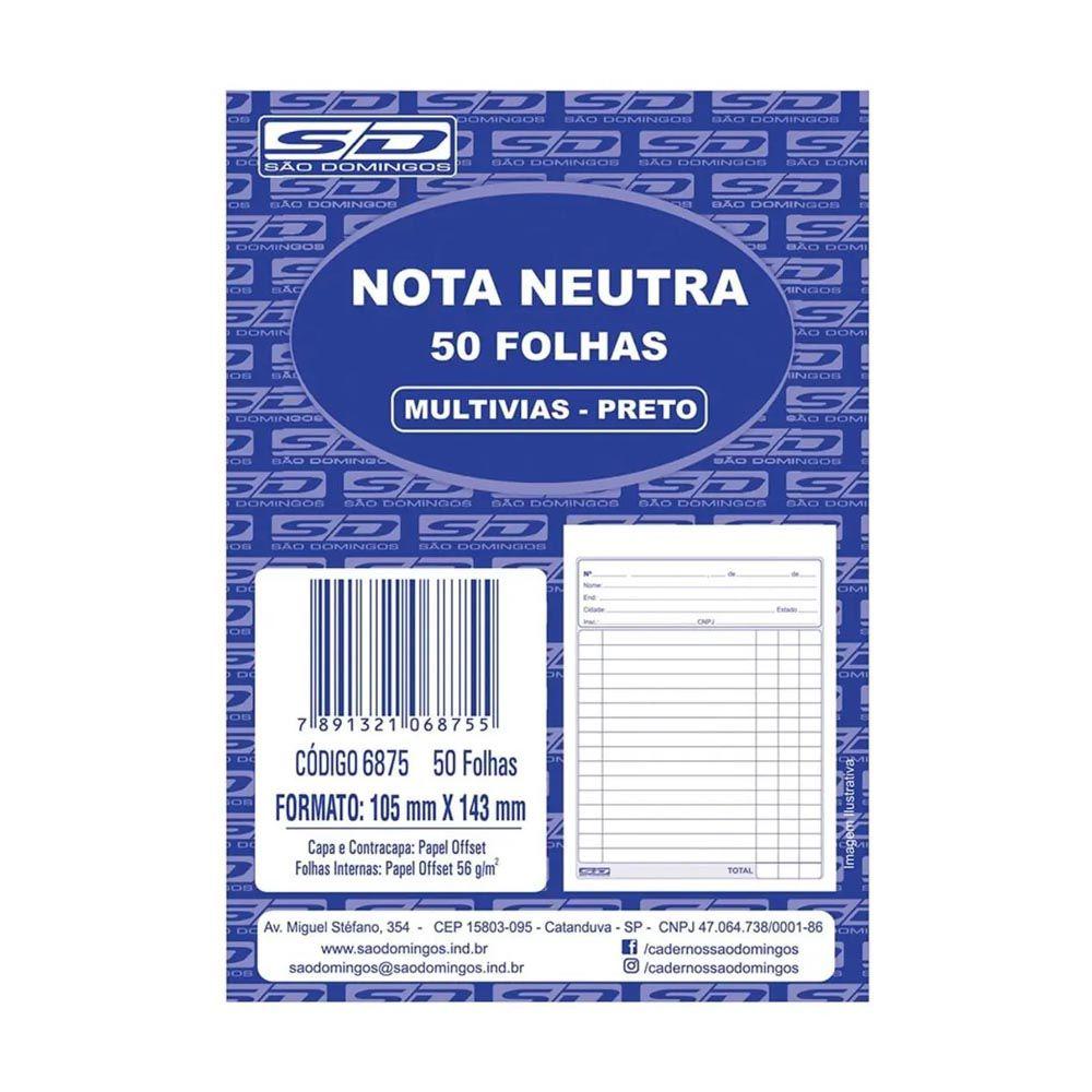Nota neutra preto 50 folhas São Domingos