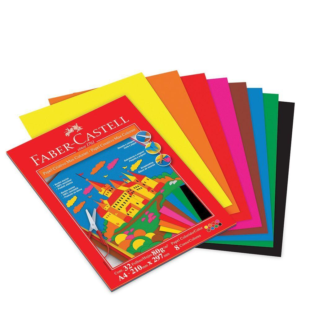 Papel criativo 32 fls 8 cores Faber-Castell