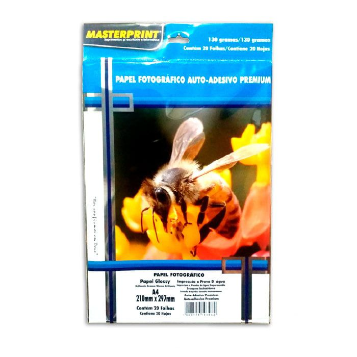 Papel fotográfico adesivo premium 20 fls 130g Masterprint