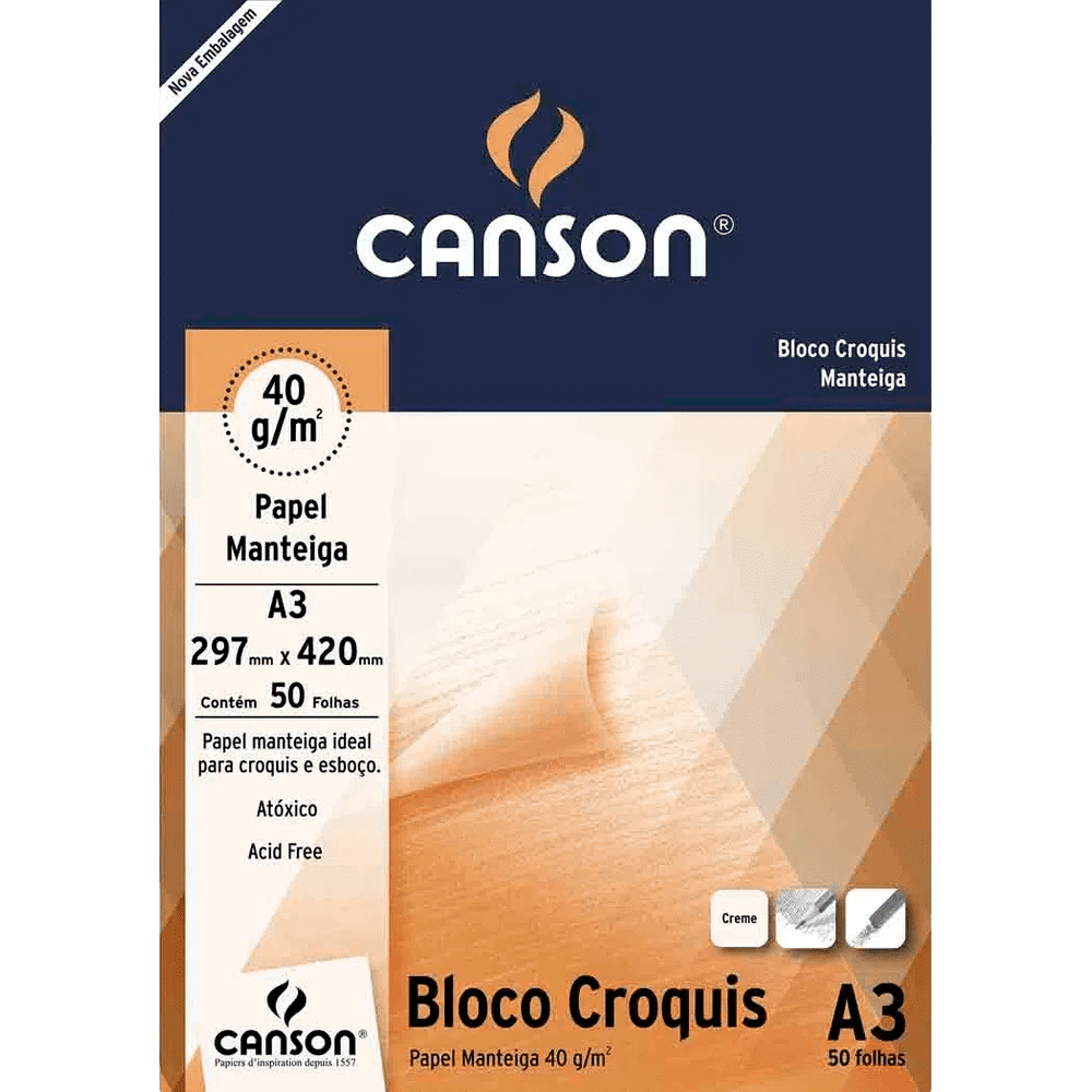 Papel manteiga 50 fls A3 40g Canson