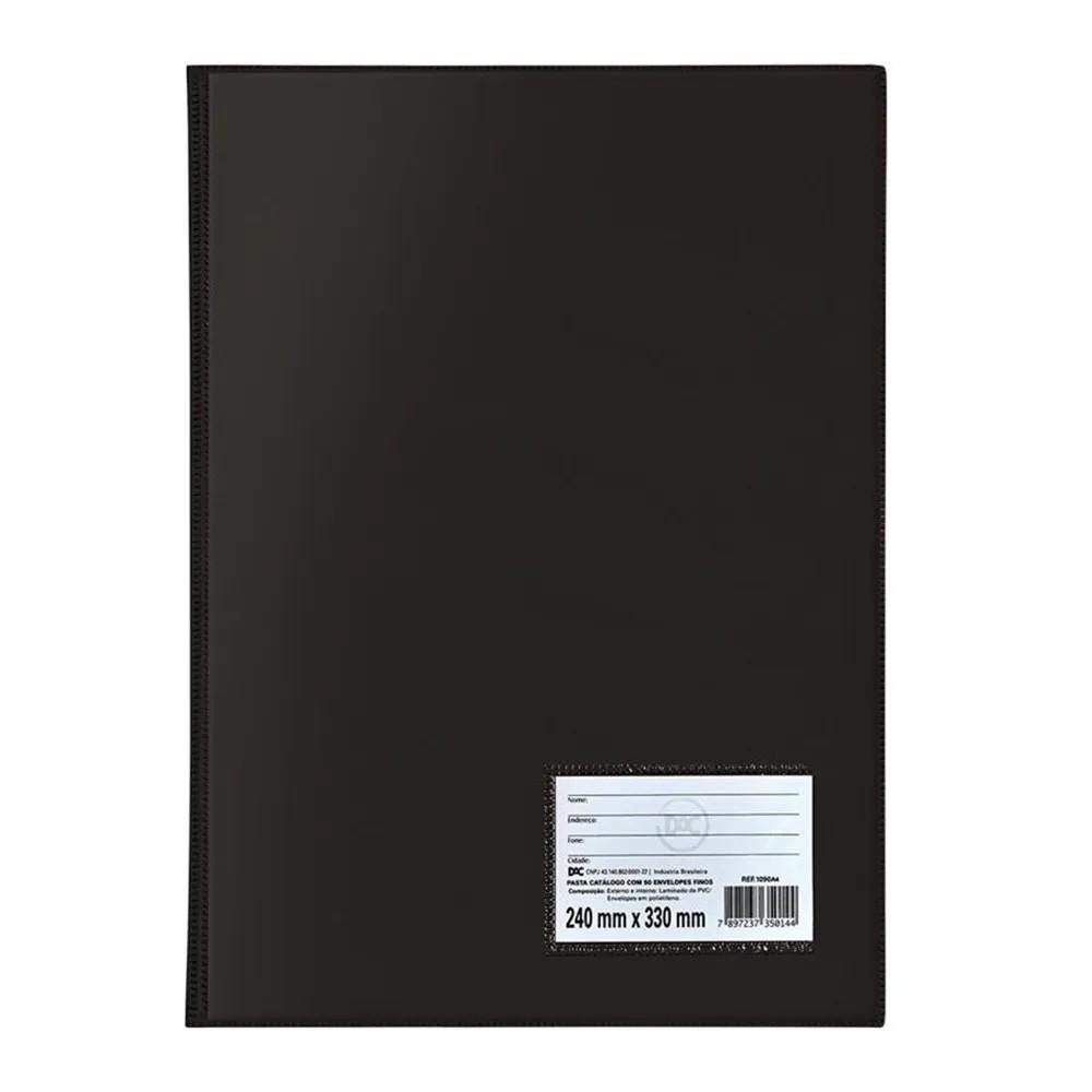 Pasta catálogo capa simples 10 envelopes preto Dac