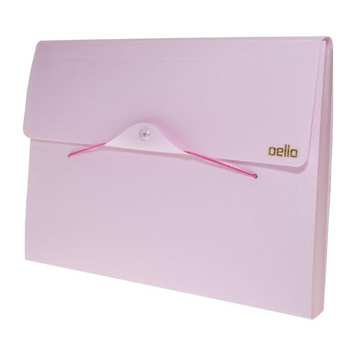 Pasta sanfonada A4 12 divisórias rosa pastel Linho SERENA Dello