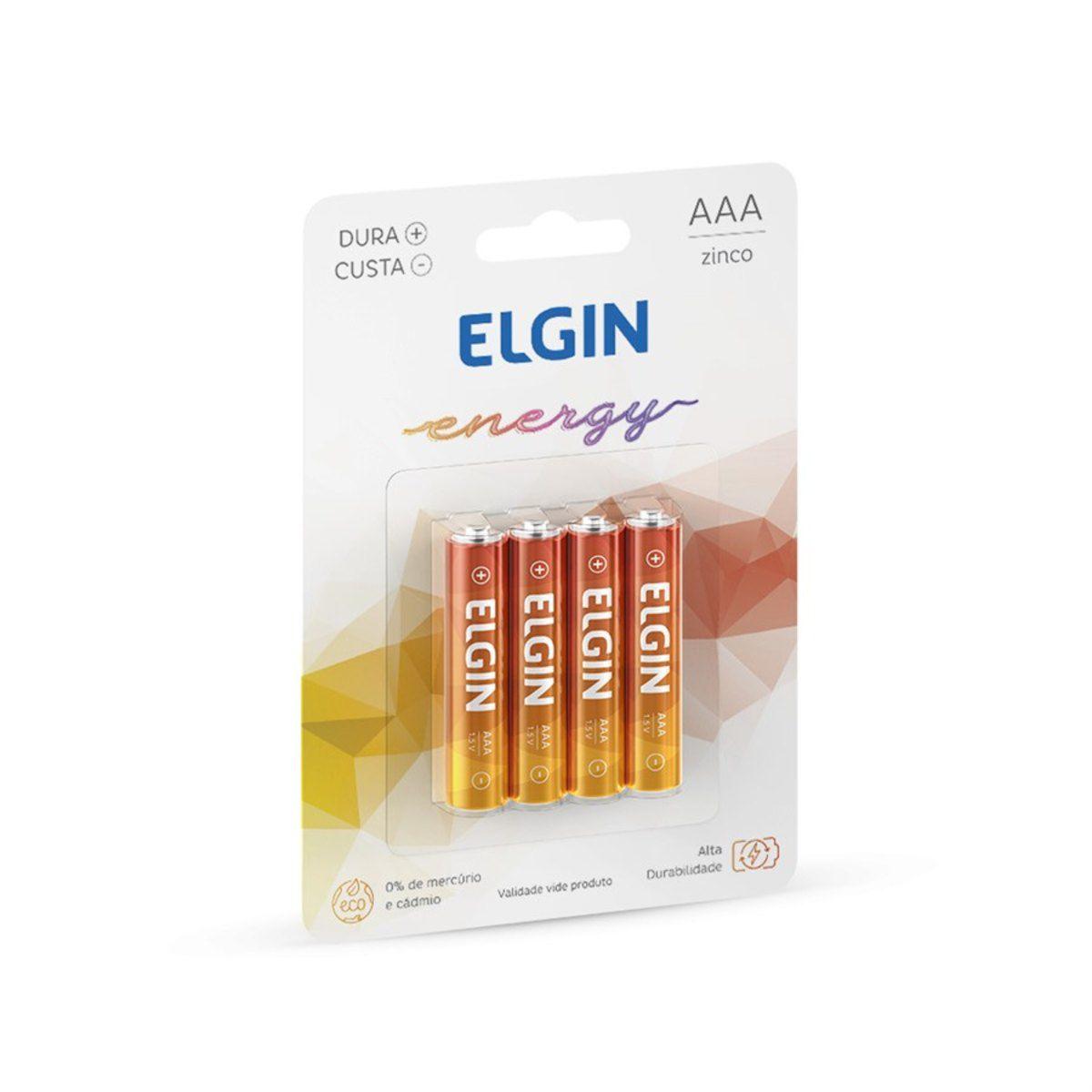 Pilha AAA zinco 4 un Elgin
