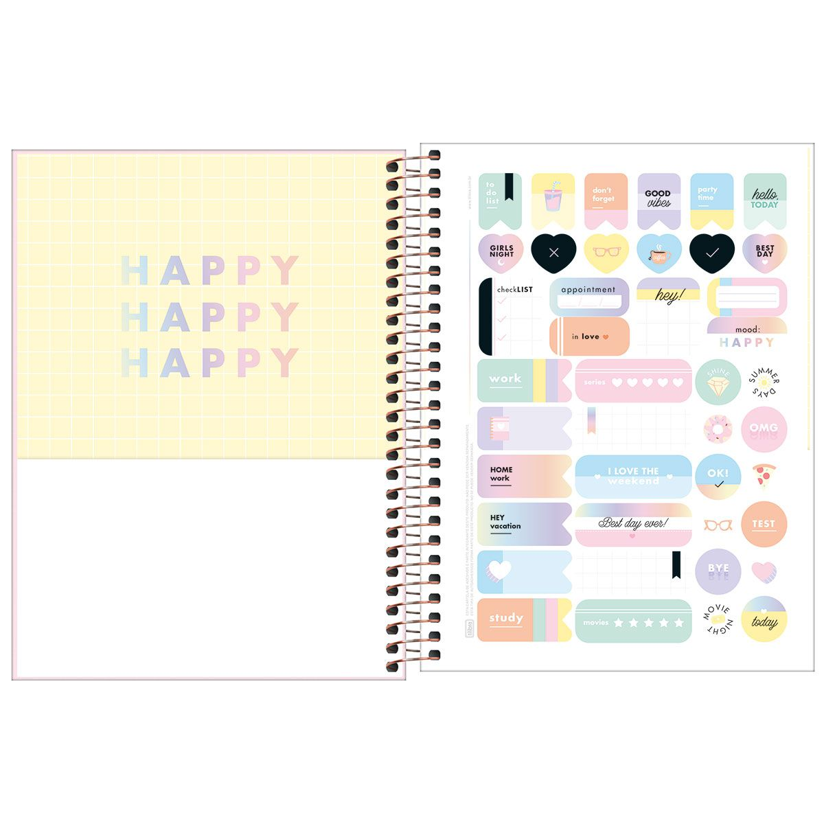 Planner semanal 2021 espiral 80 fls rosa Happy M7 Tilibra