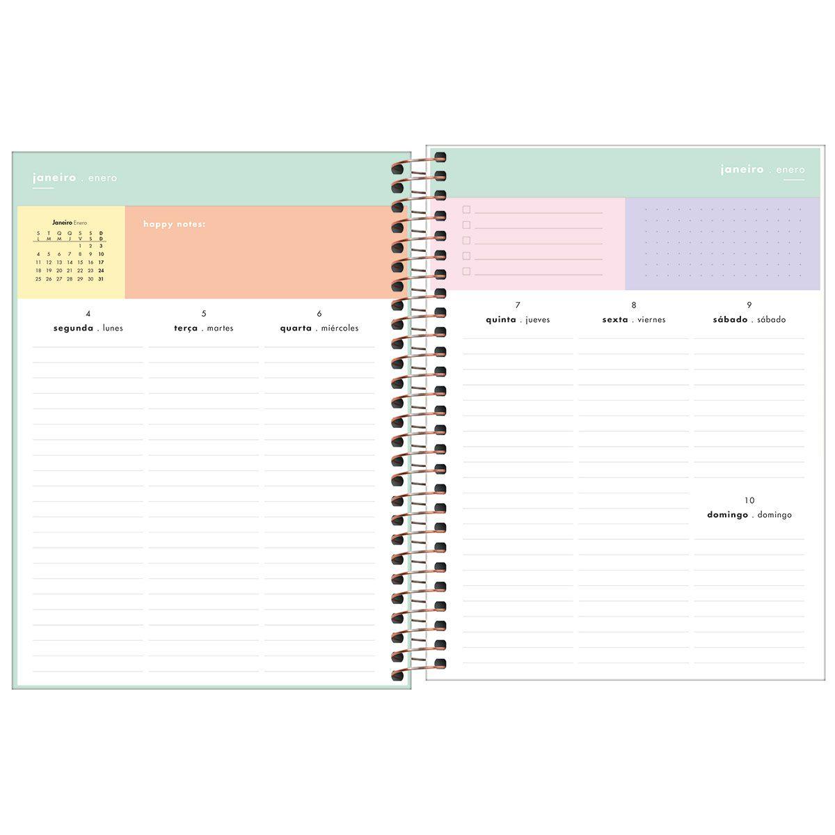 Planner semanal 2021 espiral 80 fls verde Happy M7 Tilibra