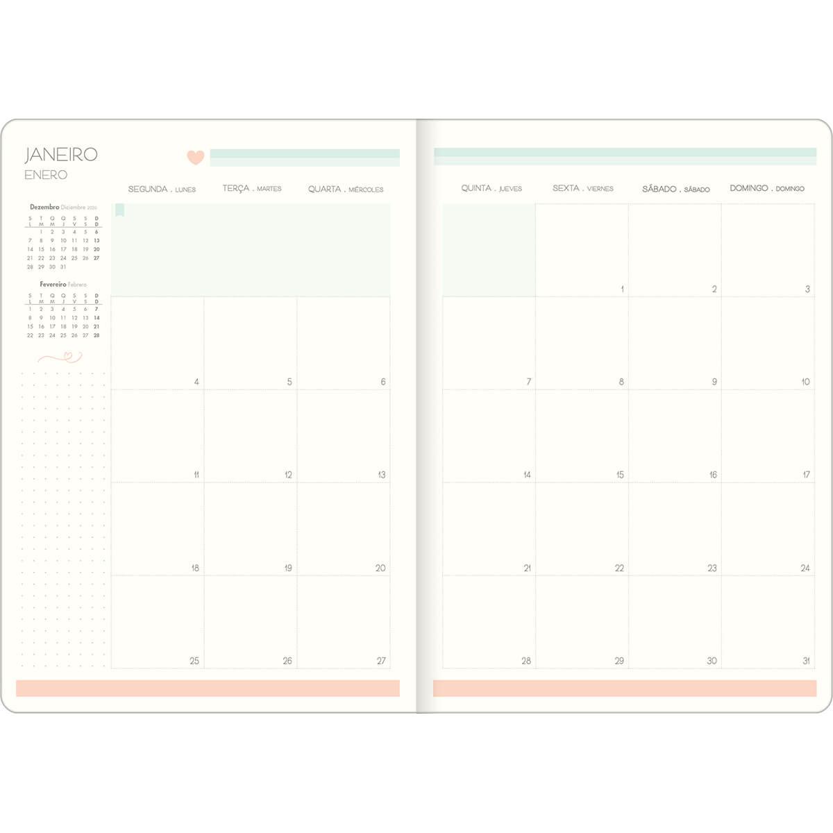 Planner mensal 2021 grampeado 20 fls Soho M7 Tilibra