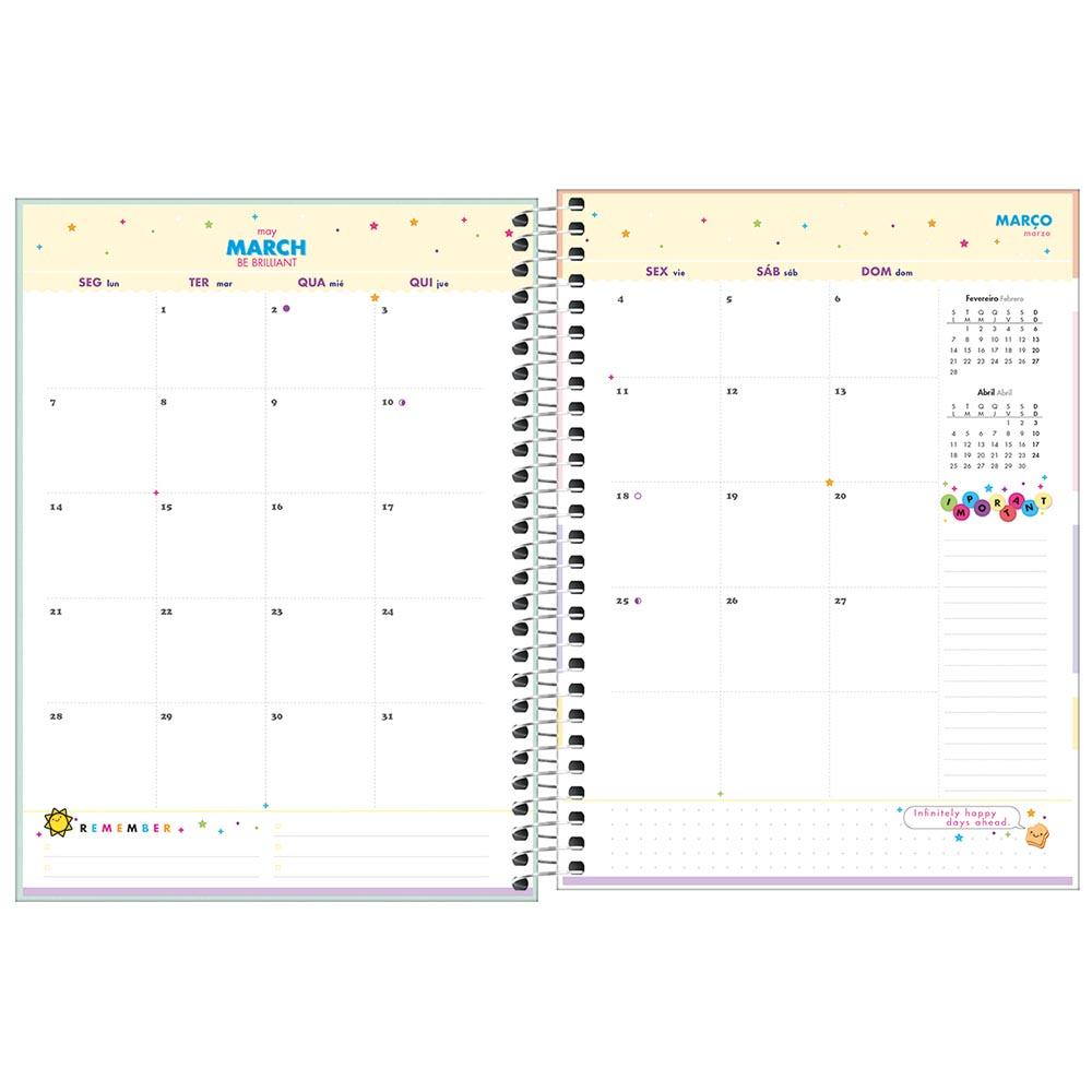 Planner semanal 2022 espiral 80 fls azul Happy M7 Tilibra
