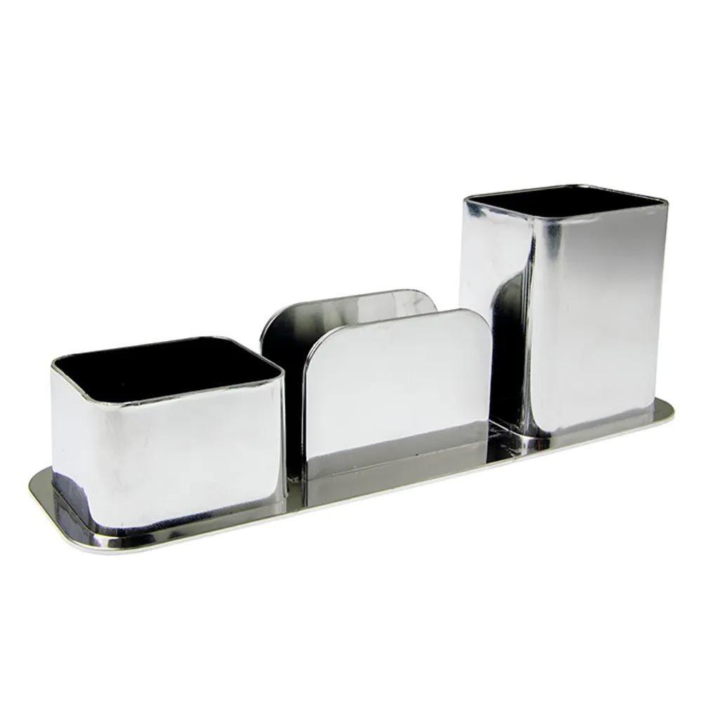 Porta caneta / lembretes / clips prata metalizado Dello