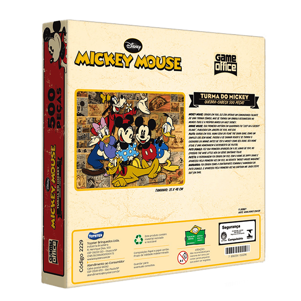 Quebra-cabeça 500 peças Turma do Mickey Game Office