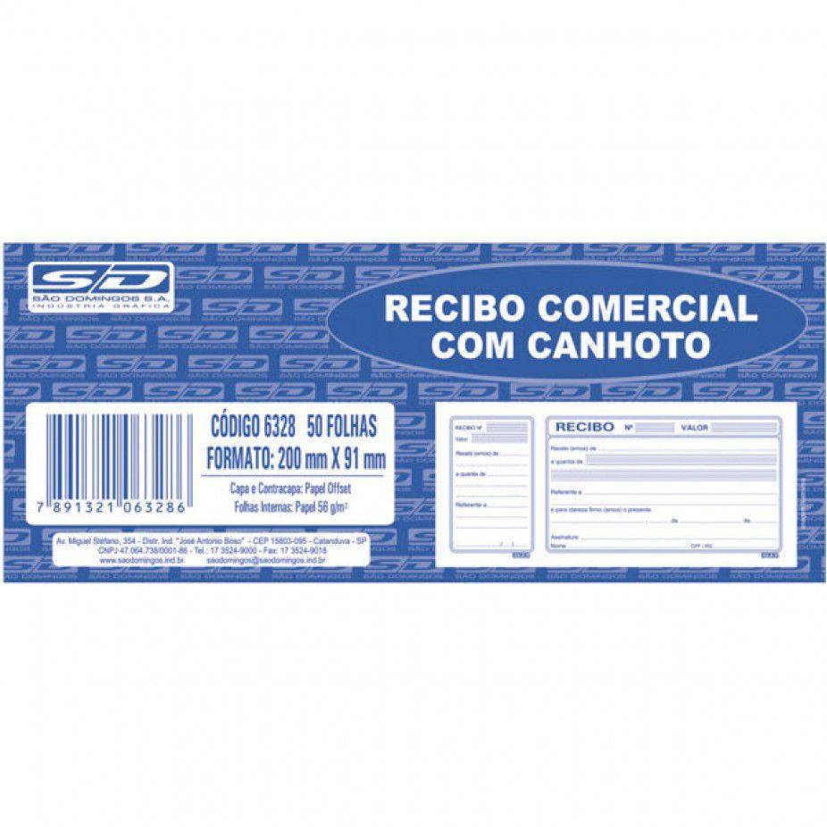 Recibo comercial com canhoto 100 folhas São Domingos