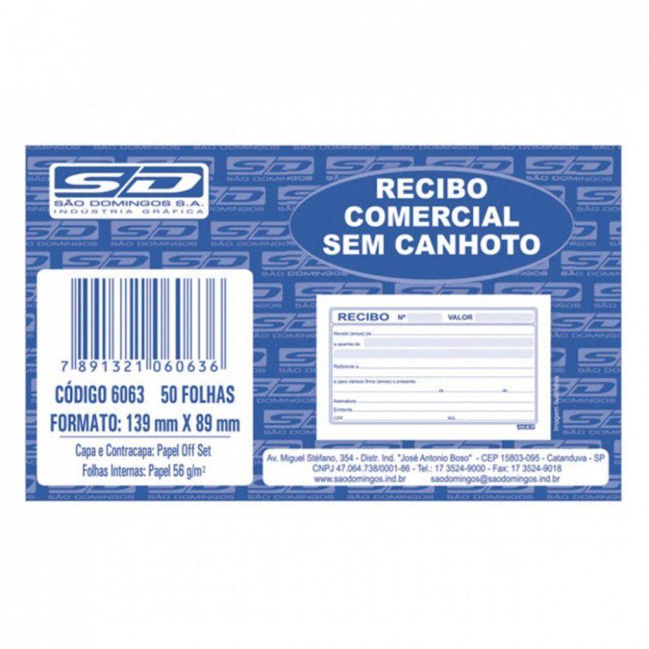 Recibo comercial sem canhoto 50 folhas São Domingos