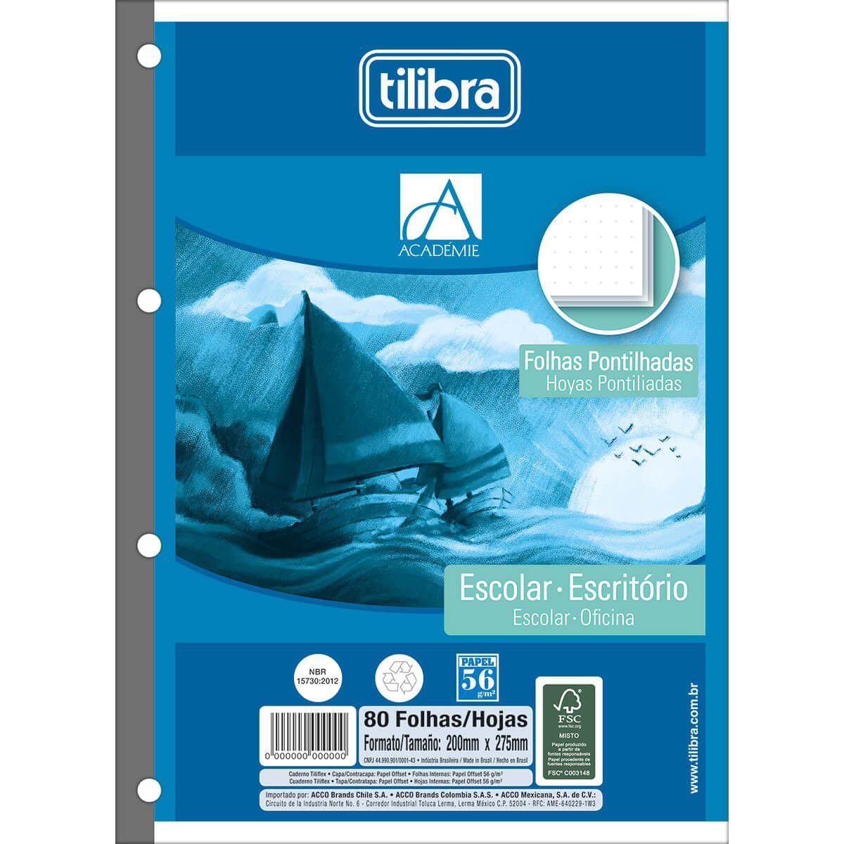 Refil pontilhado 80 fls Tiliflex Tilibra