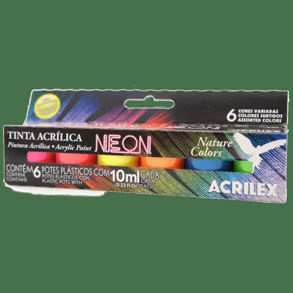 Tinta acrílica 10ml 6 cores neon Acrilex
