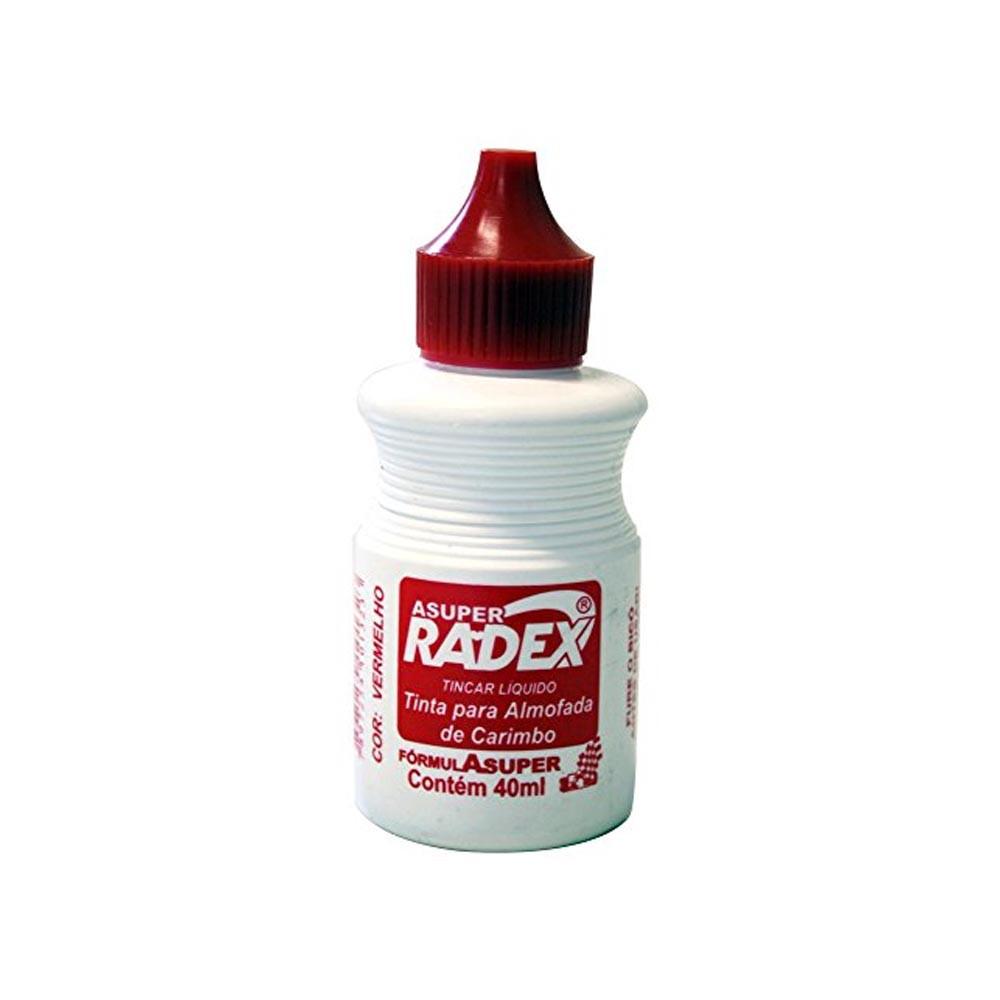 Tinta carimbo vermelho 40ml Radex