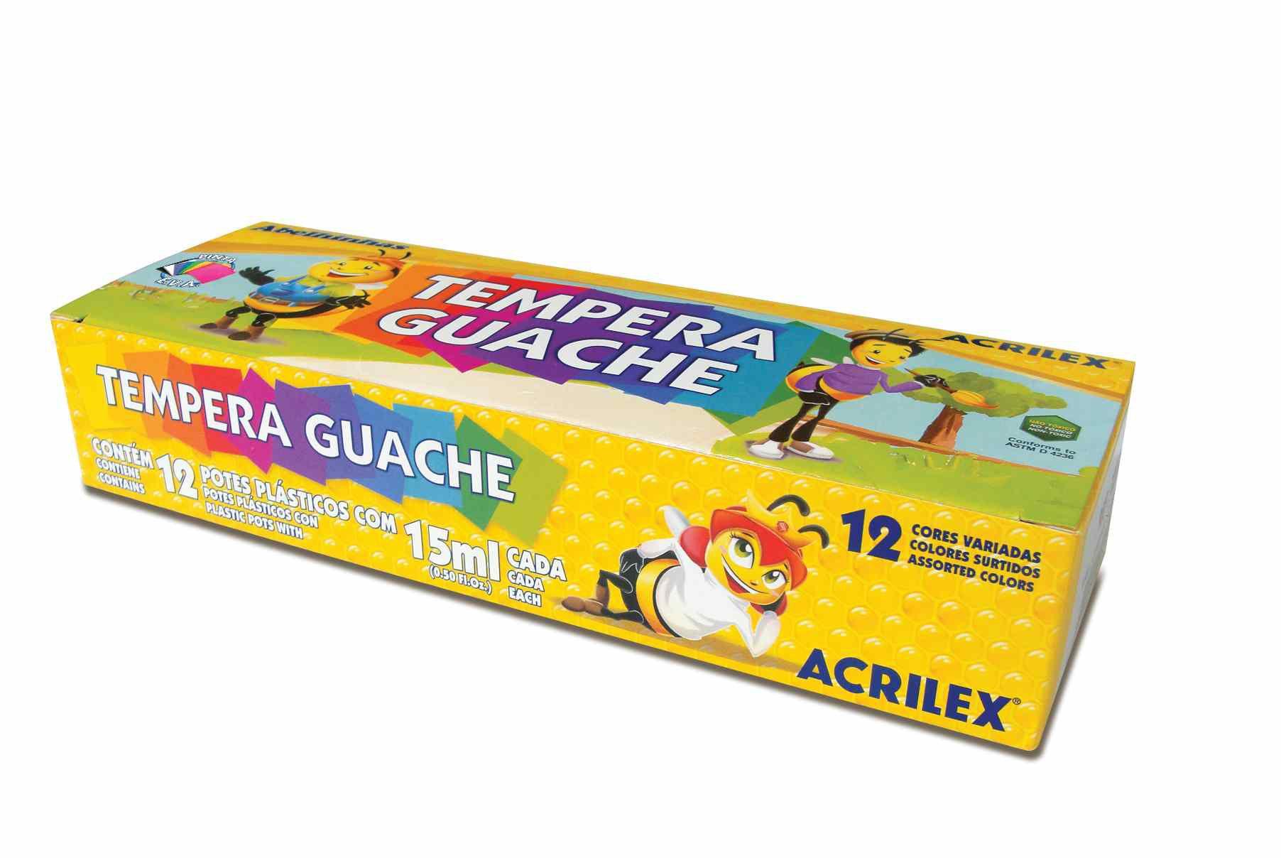 Tinta guache 15ml 12 cores Acrilex