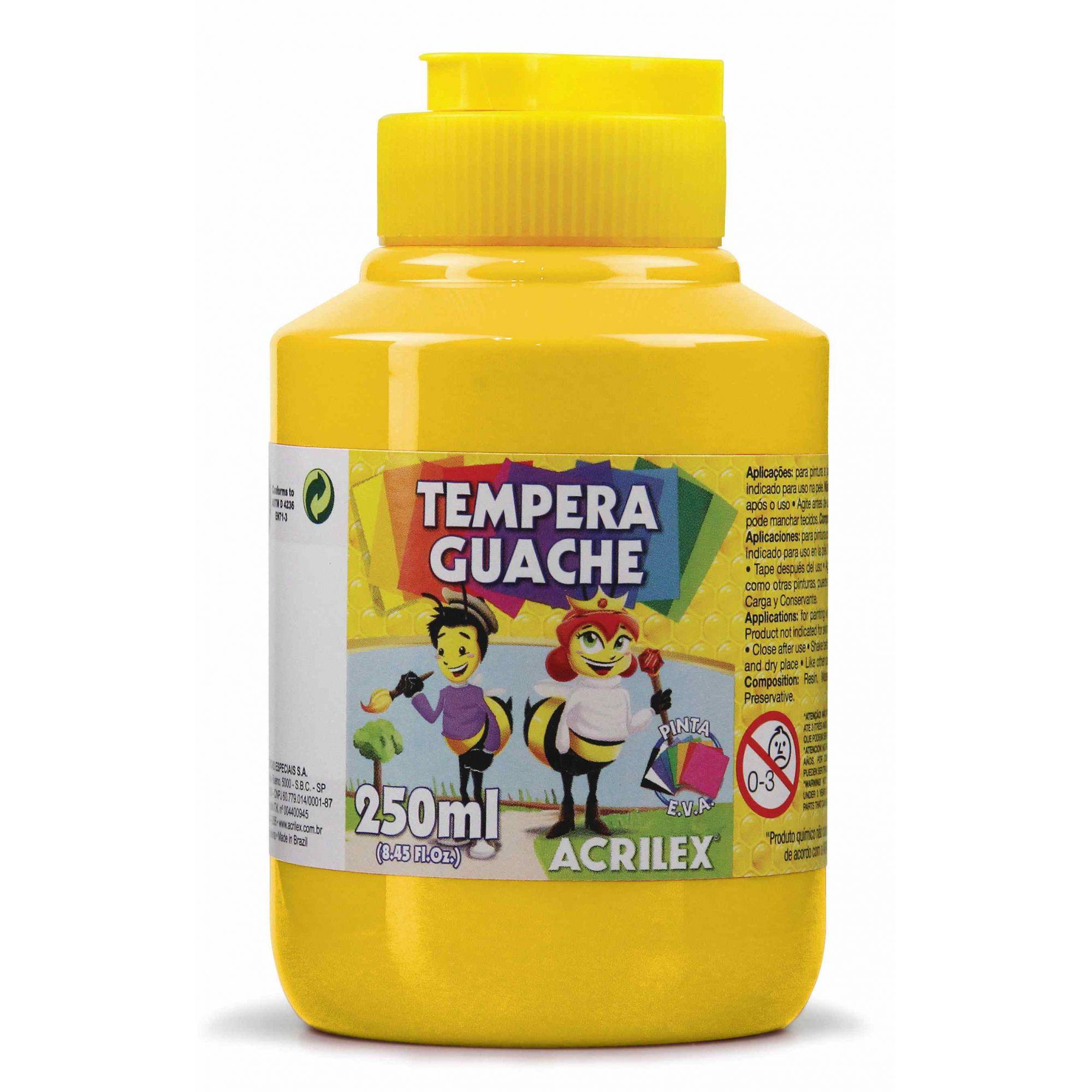 Tinta guache 250ml amarelo Acrilex