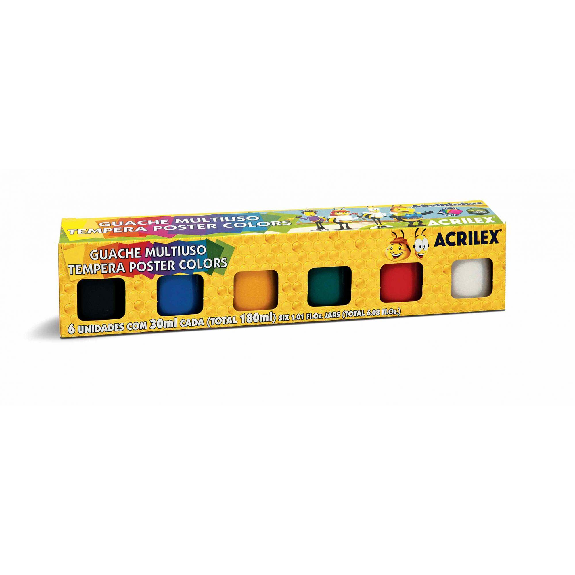 Tinta guache 30ml 6 cores Acrilex