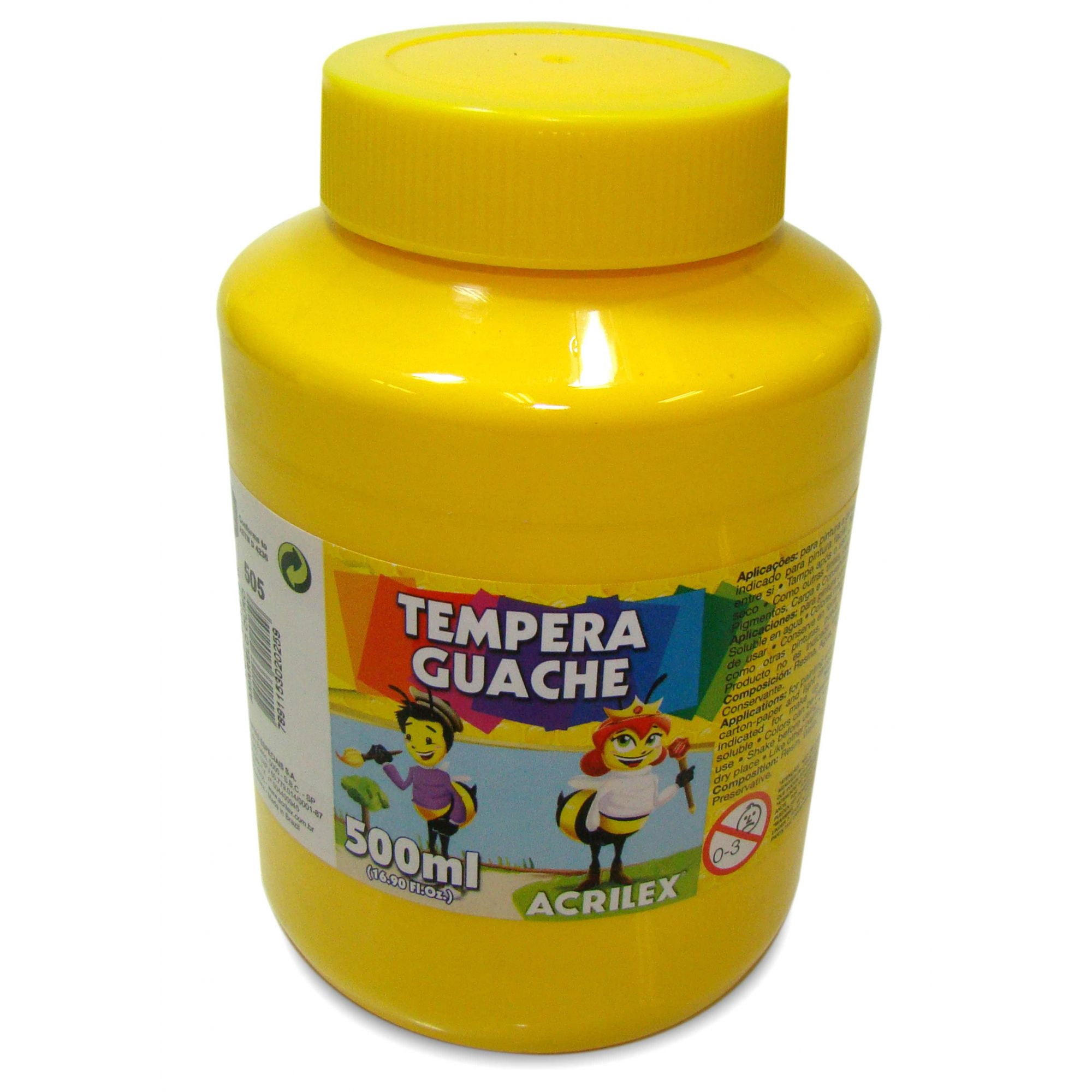 Tinta guache 500 ml amarelo Acrilex
