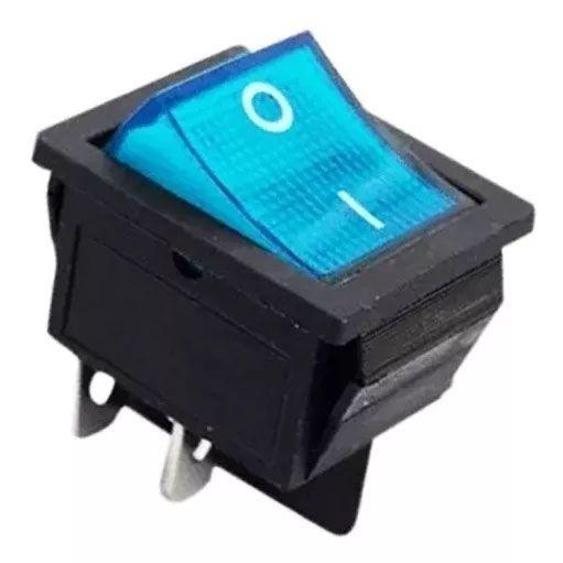100pçs Chave Gangorra 2 Posições 4 Pinos Neon Azul Kcd4