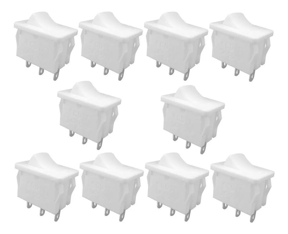 100pcs Chave Gangorra Liga Desliga Liga 3posições 3t Branca