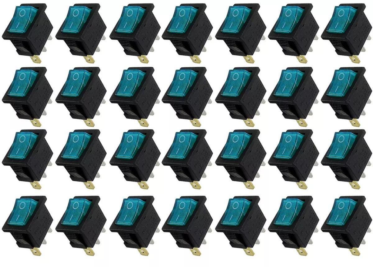 100pcs Chave Gangorra Luz Neon Azul 2 Posições Kcd1 102n