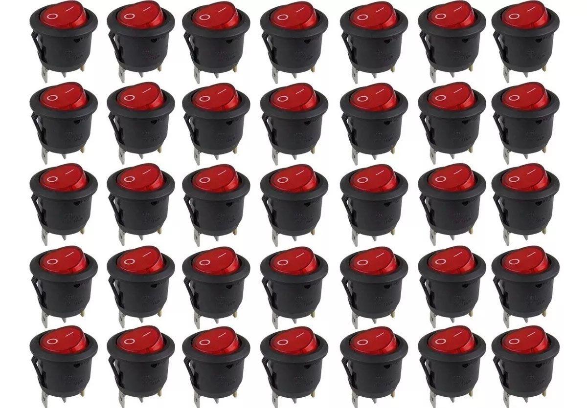 100pcs Chave Gangorra Luz Neon Vermelha 2 Posições Kcd1 102n