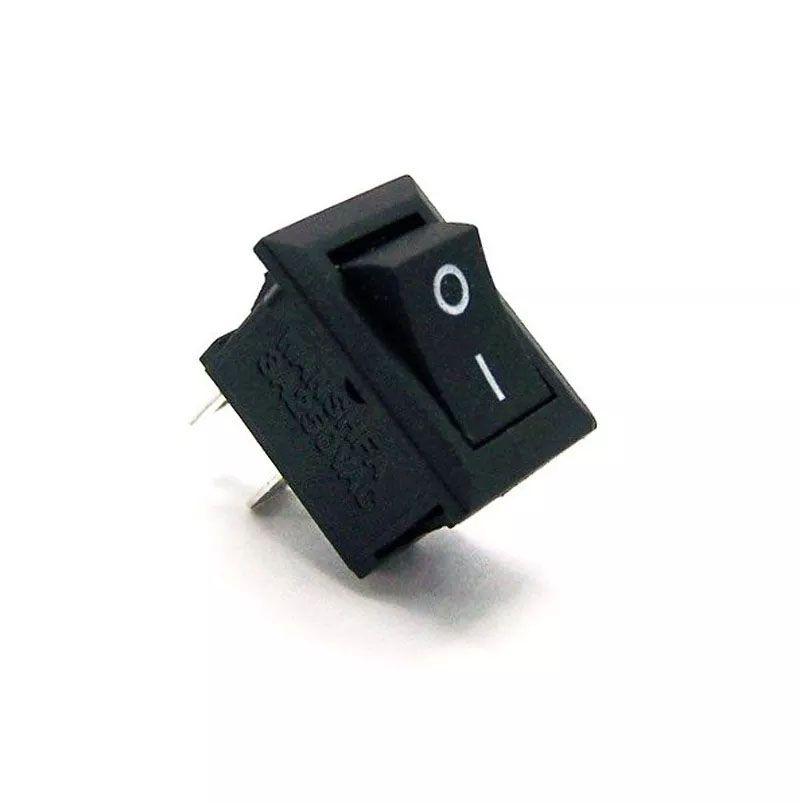 100pcs Mini Chave Gangorra 2 Posições 2 Pinos Preta Kcd11101