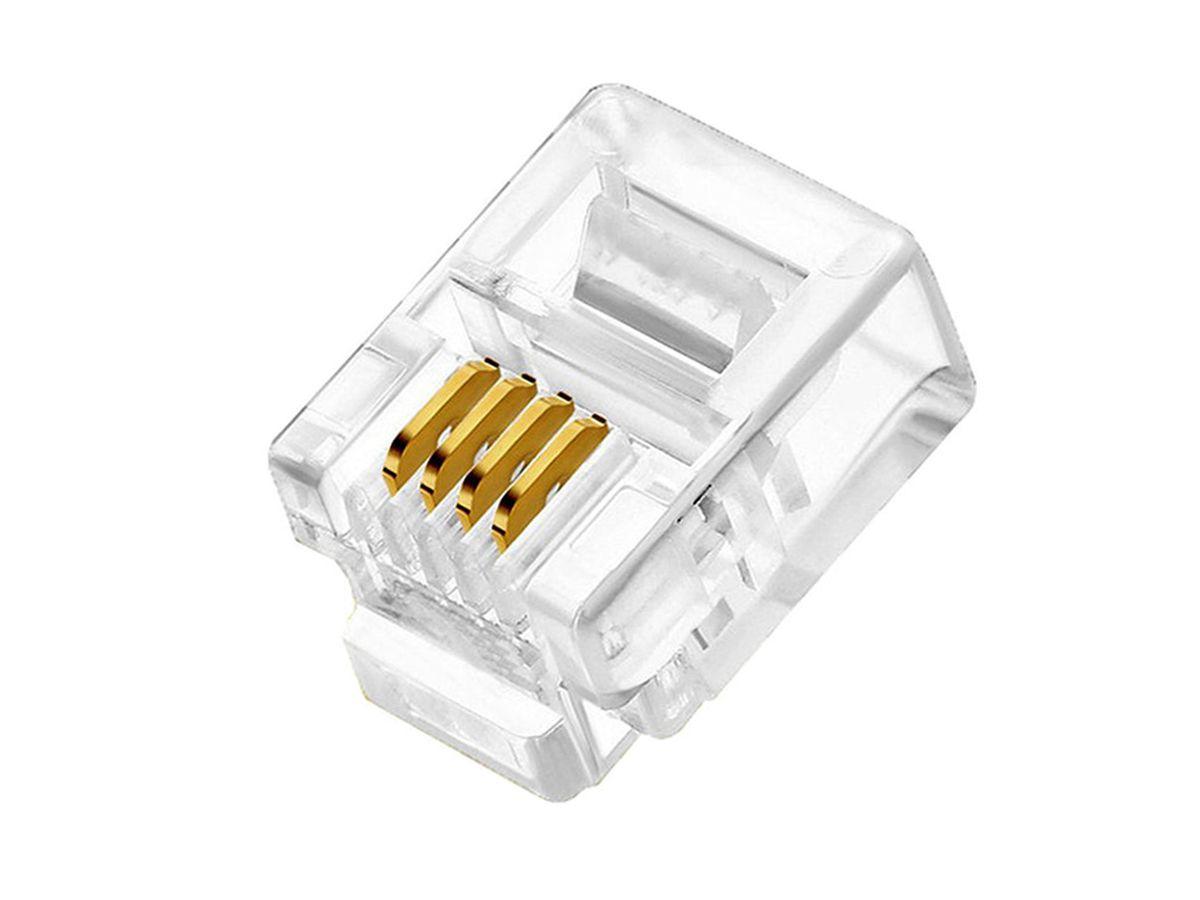 100pcs Plug Modular RJ11 6x4 vias Telefonia
