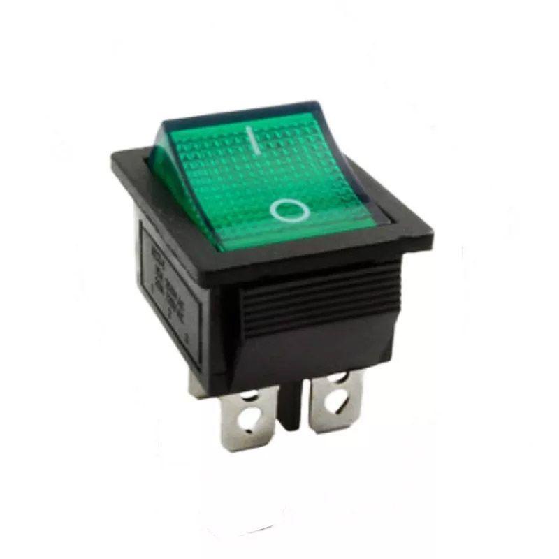 10pcs Chave Gangorra 2 Posições 4 Pinos Neon Verde Kcd4