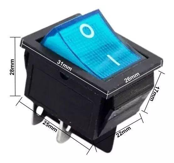 10pcs Chave Gangorra 2 Posições 4 Terminais Luz Neon Azul