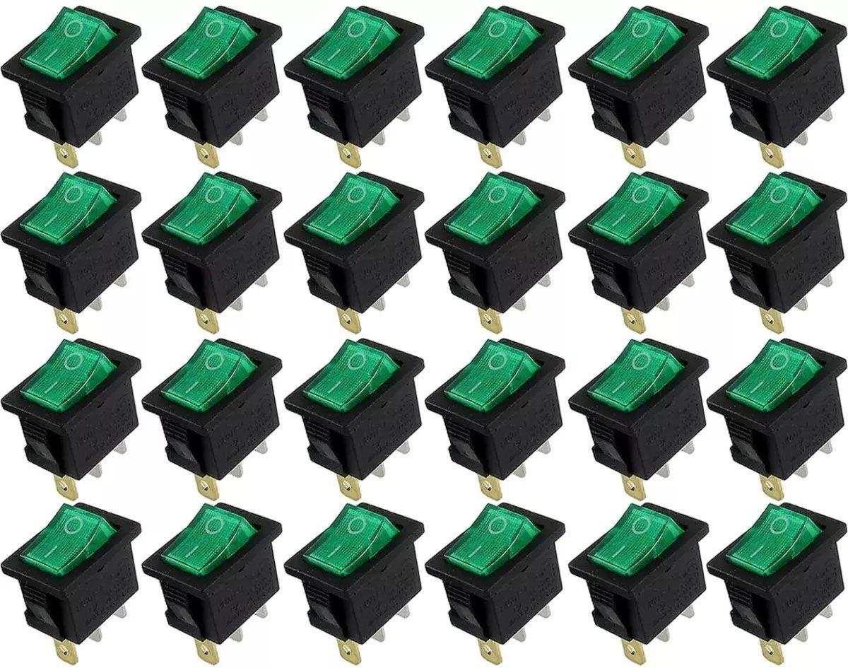 10pcs Chave Gangorra Liga Desliga 3 Polos Verde Neon Kcd 103
