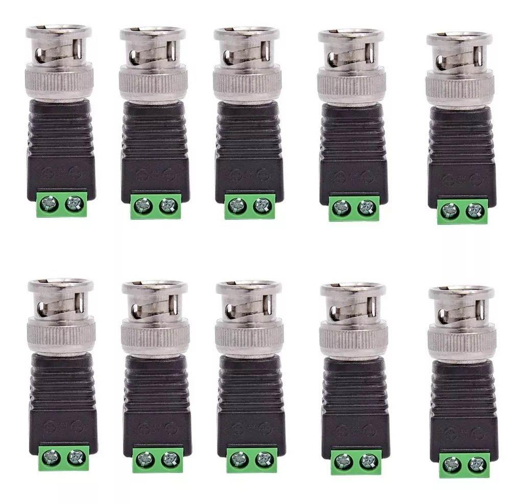 10pcs Conector Bnc Macho Com Borne Cftv Cameras Dvr