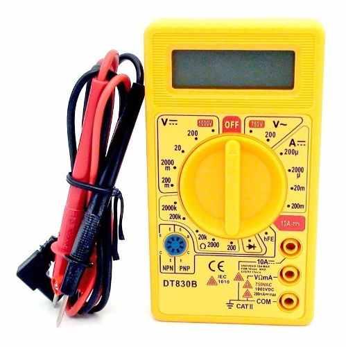 10pcs Multímetro Digital Medidor Tensão Dt830b Com Bateria