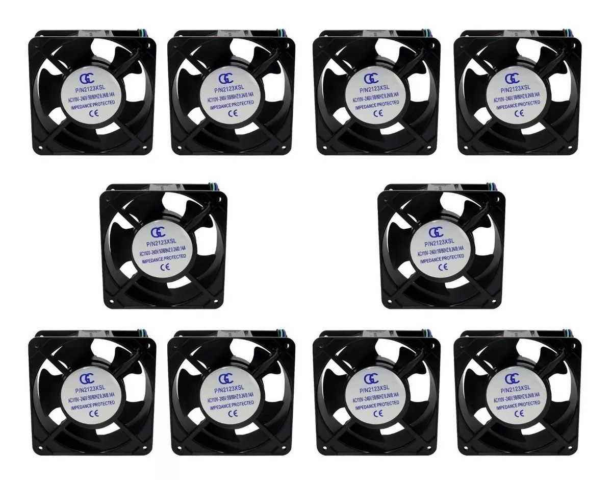 10pcs Ventilador Ventoinha Gc Metalica Bivolt 120x120x38mm