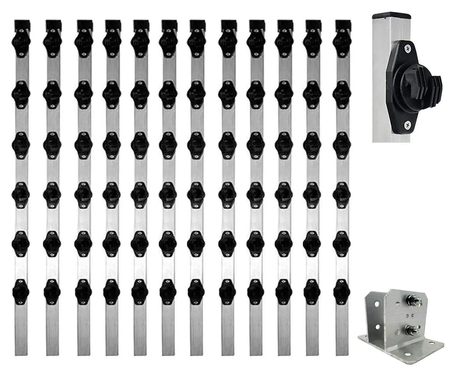 12pcs Haste Cerca Elétrica 25x25 1mt Industrial Com Suporte