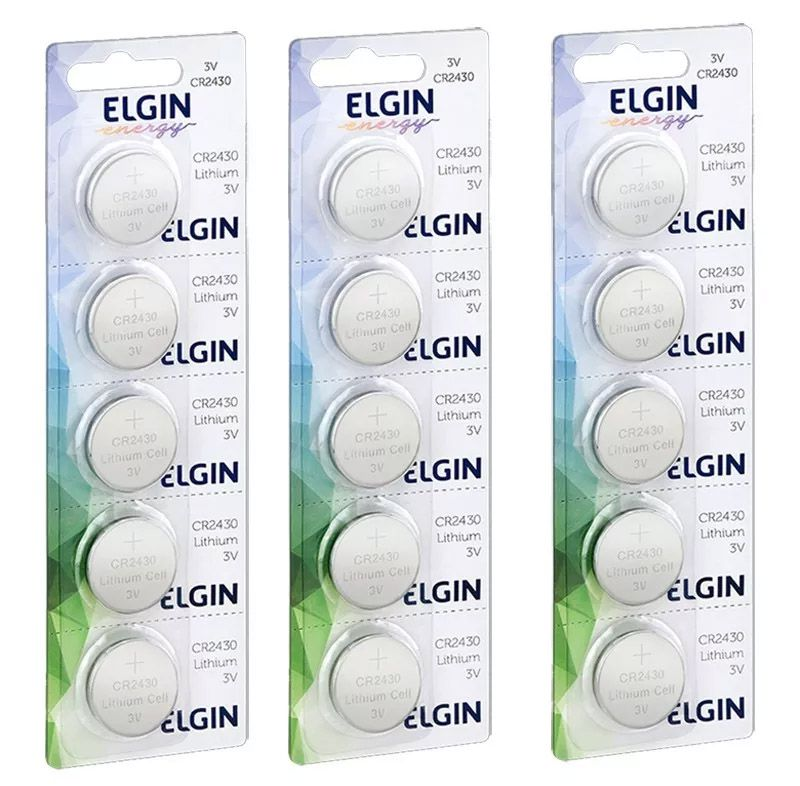 15pcs Bateria Cr2430 Moeda Pilha Elgin Original