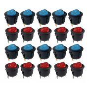 10pcs Chave Gangorra Neon Vermelha + 10pcs Azul Kcd1 102n