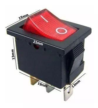 200pcs Chave Gangorra 2 Posições 3 Pinos Neon Vermelha 102n