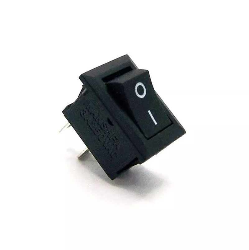 200pcs Mini Chave Gangorra 2 Posições 2 Pinos Preta Kcd11101